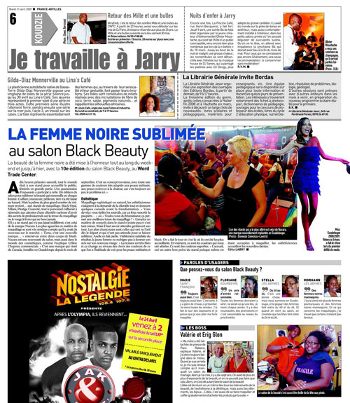 Article-France-Antilles sur le salon Black Beauty